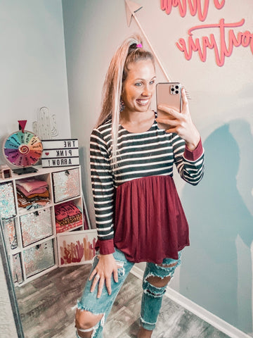 Burgundy Babydoll Striped Top