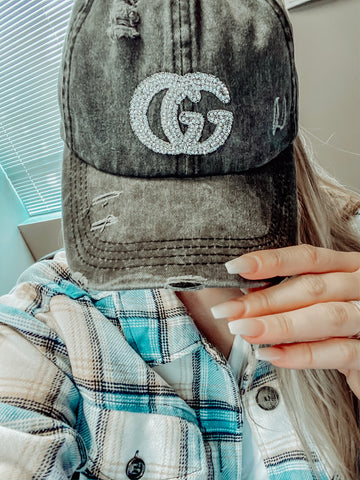 Vintage Black Distressed Ponytail GG Hat