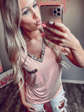 Blush Sequin Detail Pocket Tee - The Pink Arrow Boutique