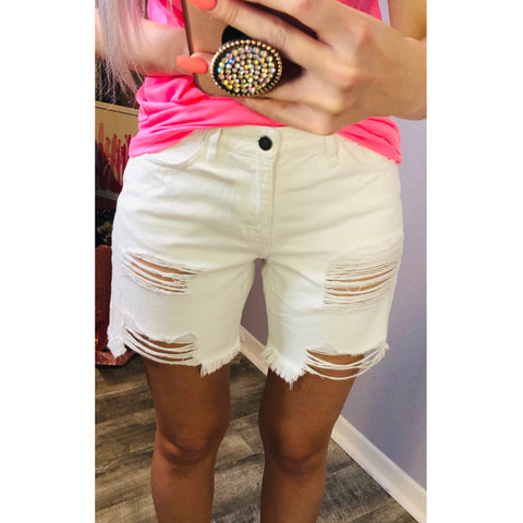 White Distressed Jean Shorts - The Pink Arrow Boutique
