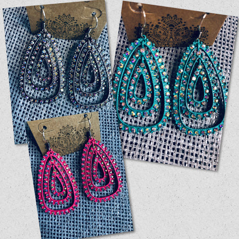 Tres AB Crystal Earrings