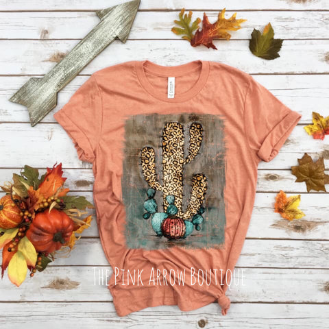 Fall Leopard Cactus Tee - The Pink Arrow Boutique