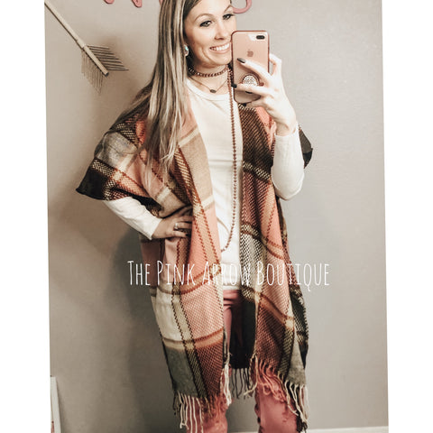 Baby Pink Fringe Flannel Overlay - The Pink Arrow Boutique