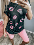 Leopard & Lip Print Top