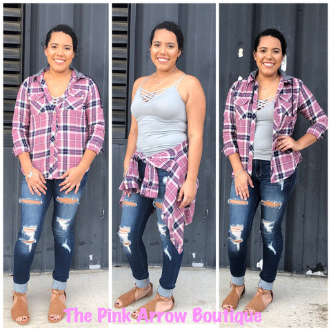 Muave Button Up Flannel w/detachable hood - The Pink Arrow Boutique