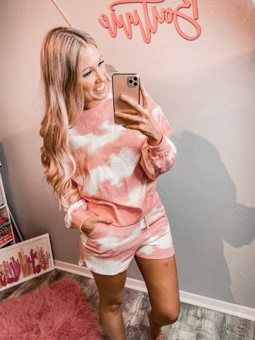 Cloudy Tie Dye Set - Bubblegum Pink