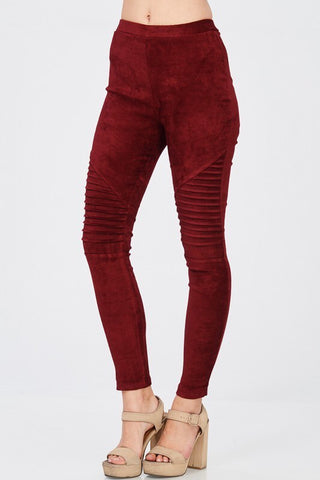 Faux Suede Moto Leggings - The Pink Arrow Boutique