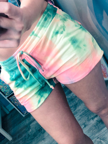 Green Tie Dye Shorts - The Pink Arrow Boutique