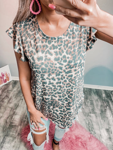 Ruffle Sleeve Leopard Tank - The Pink Arrow Boutique