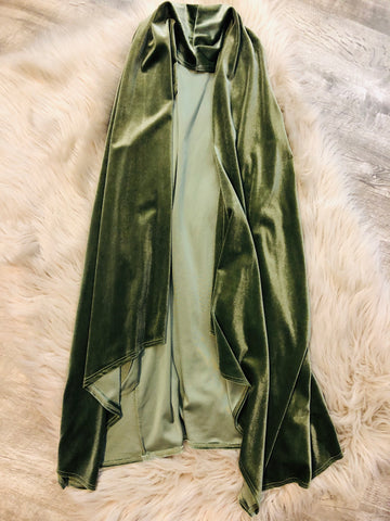 Olive Velvet Vest - The Pink Arrow Boutique