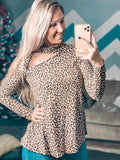 Cheetah Mock Neck Cutout Top