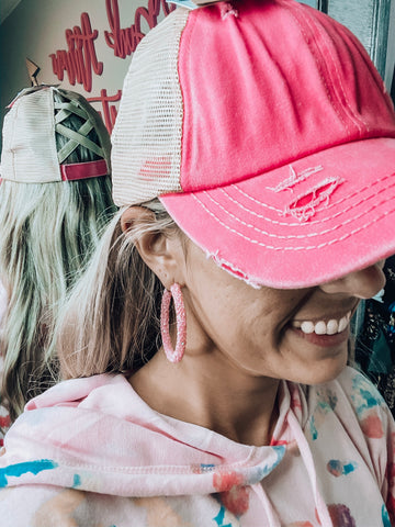 Pink Criss Cross Ponytail Hat