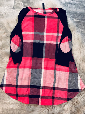 Pink Plaid Elbow Patch Tunic - The Pink Arrow Boutique