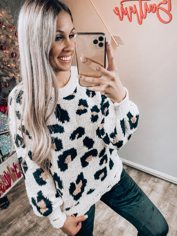 Cream Leopard Distressed Sweater