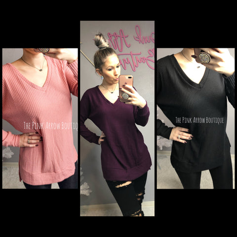 Thermal Waffle V-Neck Top - Plum - The Pink Arrow Boutique