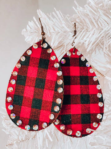 Red Buffalo Plaid Crystal Earrings