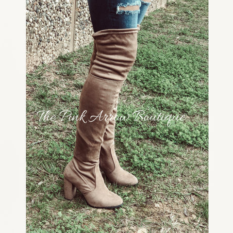 Taupe Over the Knee Boots - The Pink Arrow Boutique