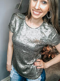 Silver Sequin Top - The Pink Arrow Boutique