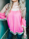 Pink Tassel Beachy Top - The Pink Arrow Boutique