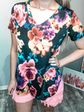 Black Floral Top - The Pink Arrow Boutique