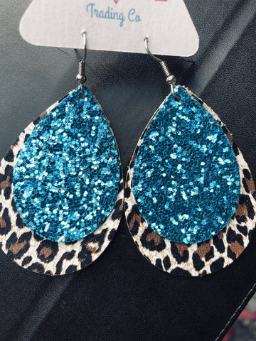 Blue Glitter Leopard Leather Earrings