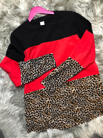 Leopard Colorblock Longsleeve - The Pink Arrow Boutique