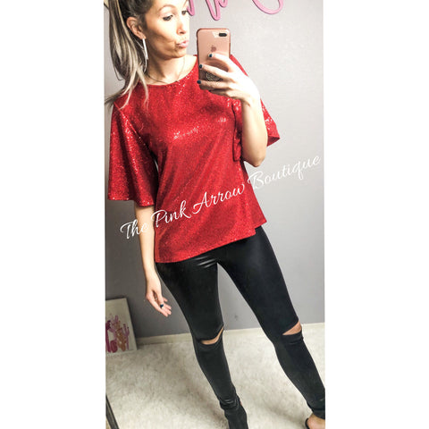 Lady in Red Sequin Top - The Pink Arrow Boutique