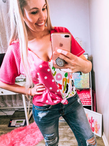 Pink Cheetah & Polka Dot Top - The Pink Arrow Boutique