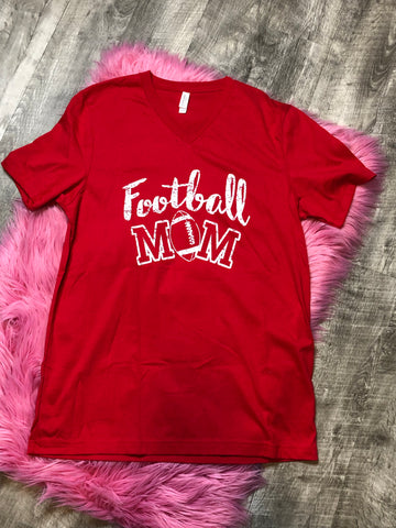 Football Mom V-Neck - The Pink Arrow Boutique