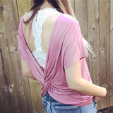 Pink Open Back Twist Top