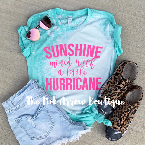 Sunshine Mixed With A Little Huricane Tee - The Pink Arrow Boutique