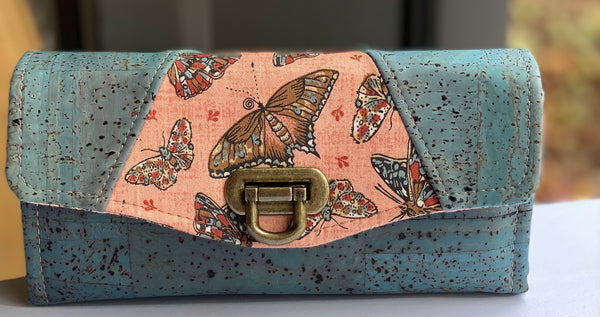 Cara Clutch Wallet - Butterflies in Peach