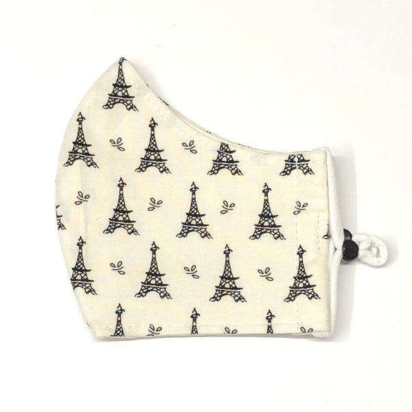 Adult Face Masks - Small/Teen - Eiffel Tower in Black & Cream