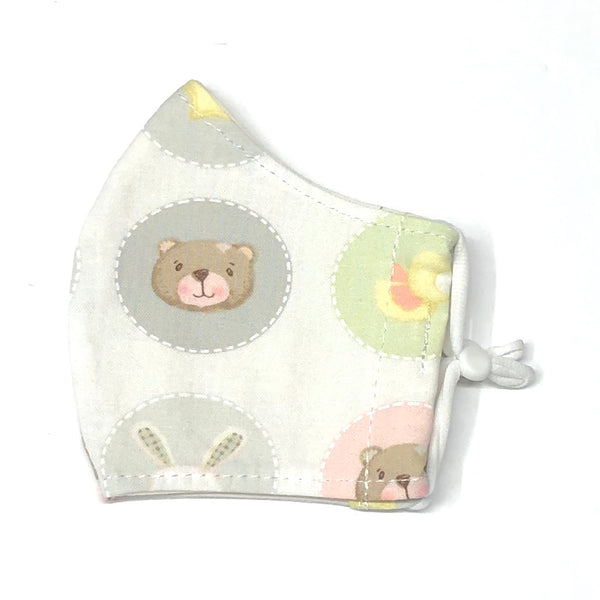 Child Face Masks (3-6yrs) - Bears & Letters in Pastel
