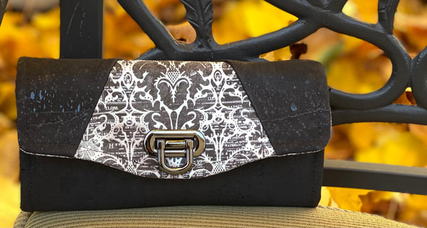 Cara Clutch Wallet - Espresso Damask