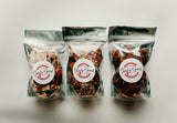 Tasty Good Toffee Classic 3-Pack of Toffee :: Small batch, handmade in Lincoln, Nebraska. Milk Chocolate Pecan Toffee, Dark Chocolate Sea Salt Toffee, White Chocolate Pecan Toffee, Classic 3-Pack. Buy Party Toffee