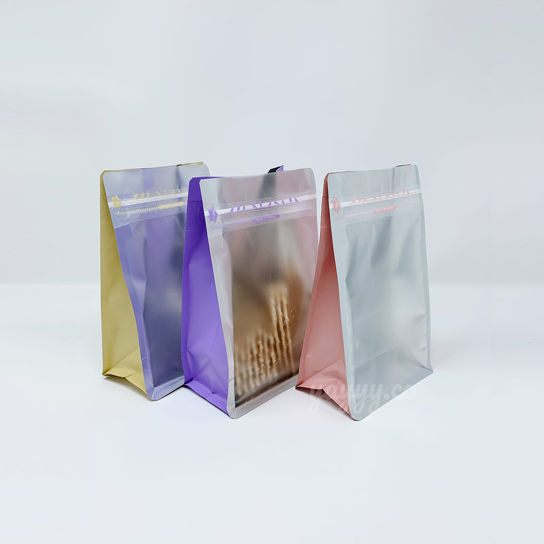 yellow, purple, pink clear bag