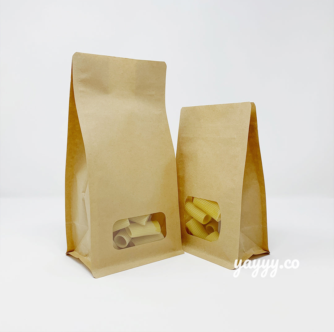 Flat bottom Natural Kraft Window Bag