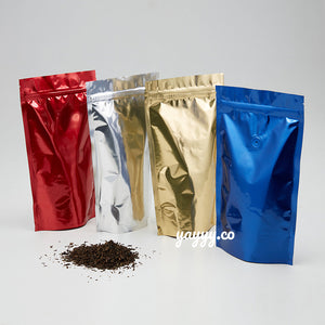 Glossy red, silver, gold and blue Stand Up Pouches Wholesale