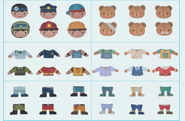 Magnetic Bear & Fireman Changing Clothes Puzzle