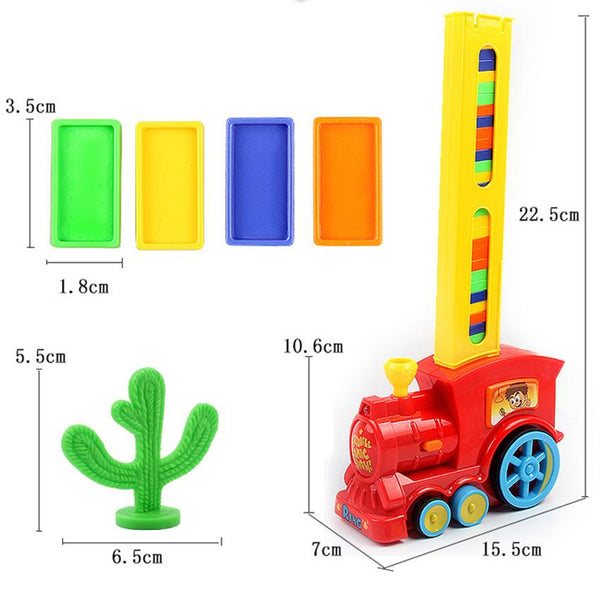 Automatic Domino Brick Laying Toy Train with 60 Dominos
