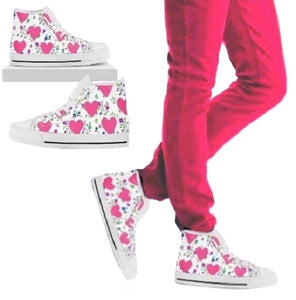 White Womens High Tops With Hearts