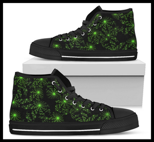 Mens Black High Tops With Green Galaxy Designs