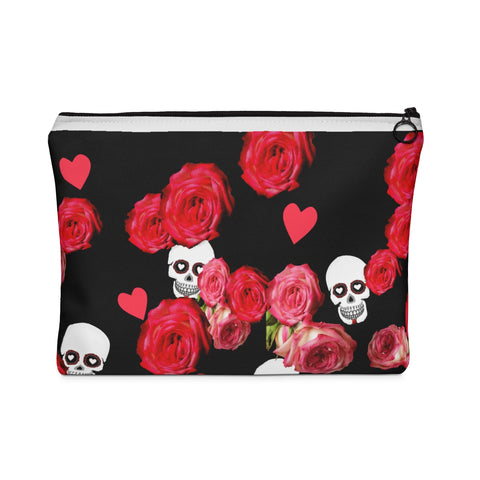 Carry All Pouch With Skulls and Roses On Black