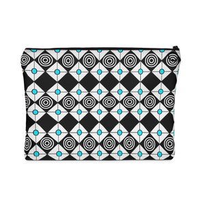 Carry All Pouch - Black Diamonds With Turquoise