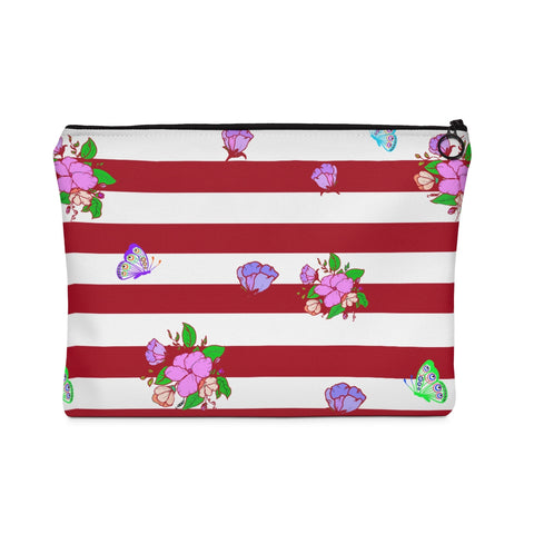 Carry All Pouch Red and White Stripes Floral Design