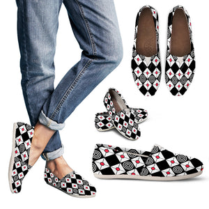 Black Diamonds and Red Circles Casual Womens Shoes