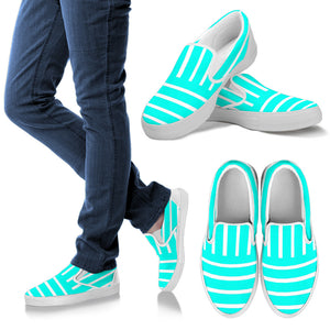 Slip Ons In Turquoise and White Stripe