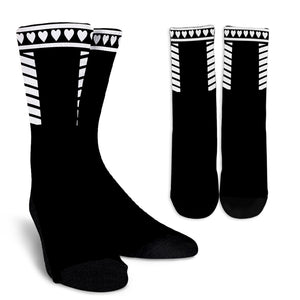Trendy Black and White Crew Socks Hearts and Stripes