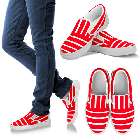 Womens Slip On Red and White Striped Shoes